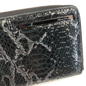 Kenneth Cole Bags - Kenneth Cole Black Python Patent Zip Wallet